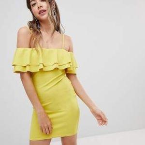 Mustard Strappy Bardot Frill Bodycon Dress